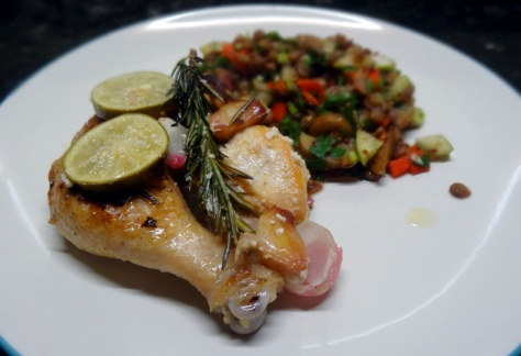 Thyme-lime chicken with lentil salad