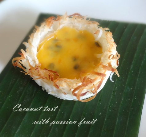 coconut tart with passion fruit filling