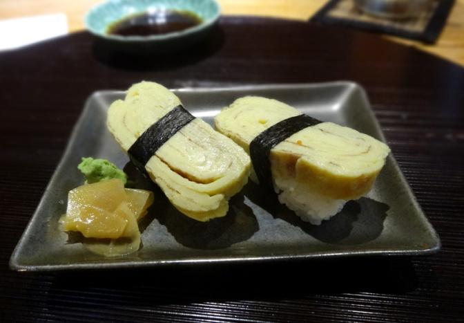 Nigiri sushi with Japanese omlelette
