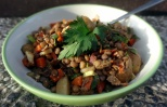 lentil salad with crispy bacon
