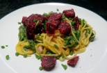 Pasta with pumpkin-spinach sauce and coco-beetroot