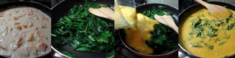 Steps for cooking coco-spinach sauce