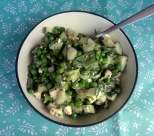 Pea salad with cucumber and feta