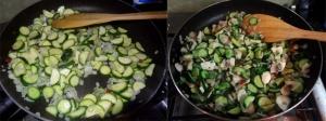 Mushroom, zucchini, feta and herb sauce