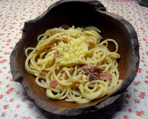 Spaghetti Carbonara with bacon, egg and parmesan