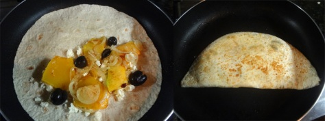 quesadillas with pumpkin, feta and black olives