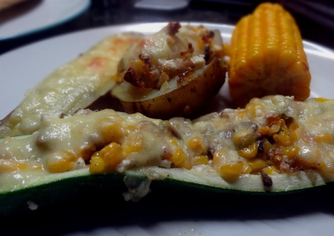 Veggies stuffed with corn, feta and mushrooms and baked in the oven