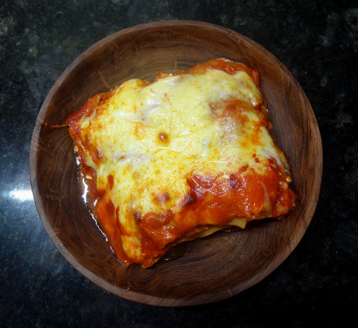 vegetarian lasagna with spinach and feta cheese