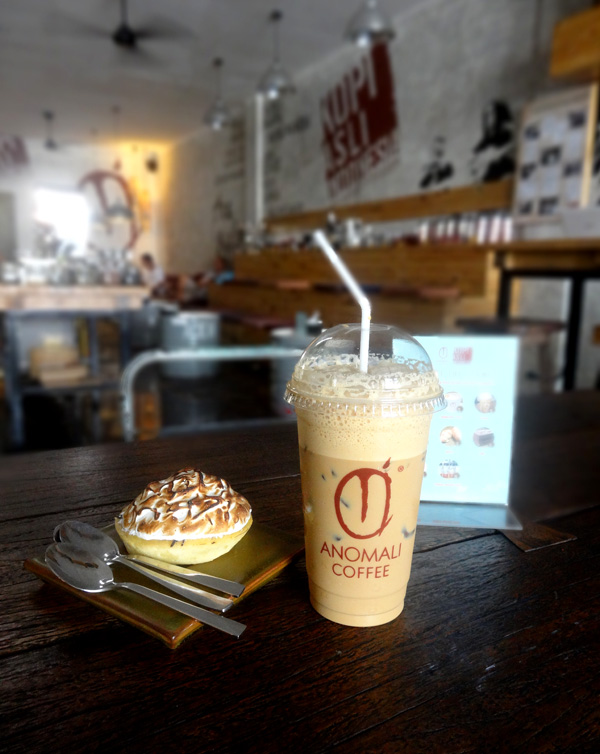 Iced Cappuccino and lemon tart at Anomali café in Seminyak, Bali