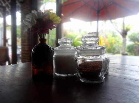 Table at watercress cafe, Seminyak.