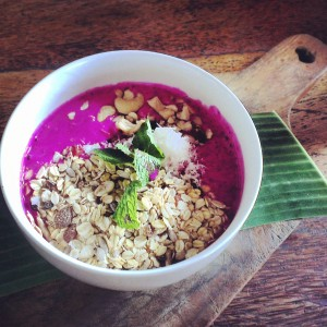 Yogurt, dragonfruit, coconut milk, cereals and nuts @ betelnut in Bali
