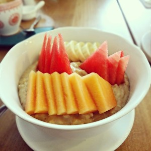 Oatmeal with coconut milk and fresh fruits @ Hungry Bird in Bali